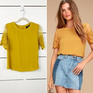 LULU'S Marie Embroidered Top Mustard Size Small